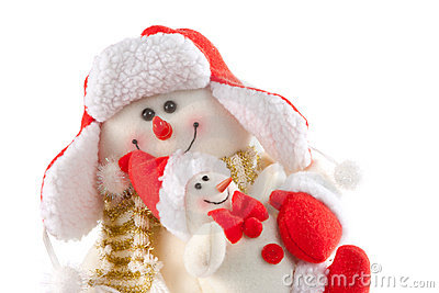Smiling snowman with kid