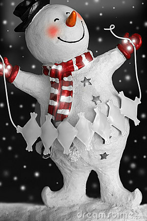Smiling Snowman with snow
