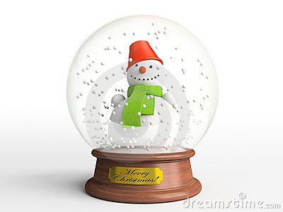 Smiling snowman in snow globe