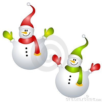 Smiling Snowmen Clip Art Isolated