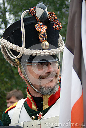 Smiling soldier at Borodino historical reenactment Editorial Stock Photo