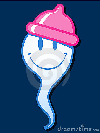 Free Smiling Sperm With Condom Hat Stock Photography - 9613192
