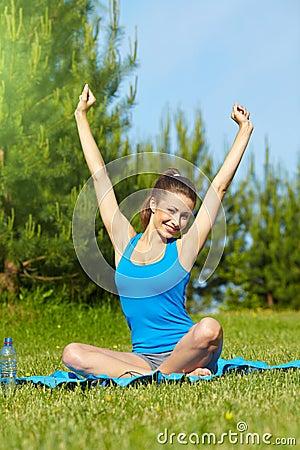 smiling sport fitness model outside