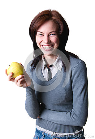 Smiling student with apple