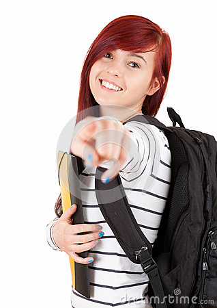 Smiling student girl with black rucksack pointing