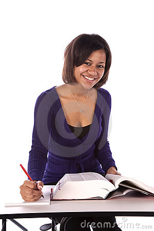 Smiling student studing