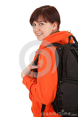 Smiling student woman with backpack