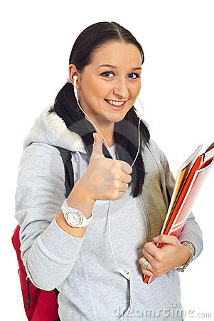 Smiling student woman give thumbs