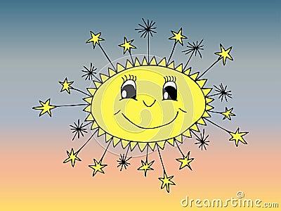 Smiling sun cartoon
