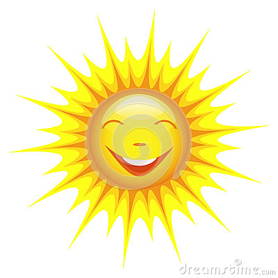 Smiling sun isolated on white background