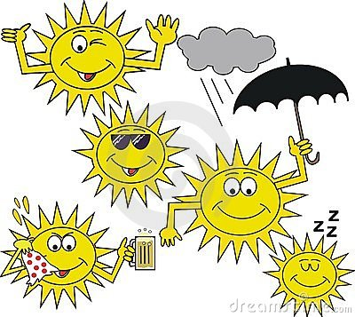 Smiling sun symbol cartoon