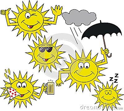 Smiling sun symbol cartoon