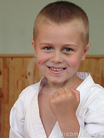 Smiling taekwon-do boy