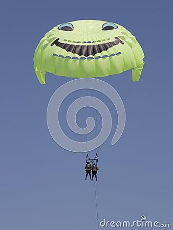 Smiling tandem parachute