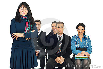 Smiling teacher businesswoman