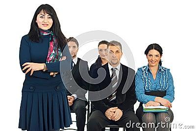 Smiling teacher businesswoman