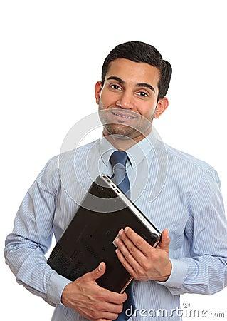 Smiling IT technician consultant salesman