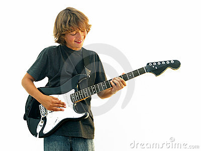 Smiling Teen Boy Playing Guitar