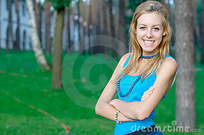 Smiling teen girl at the park