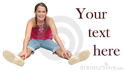 Smiling Teen Girl Sitting Isolated