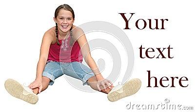 Smiling Teen Girl Sitting Isolated