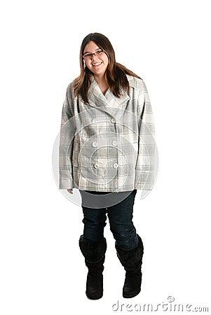 Smiling Teen Wearing Winter Clothing