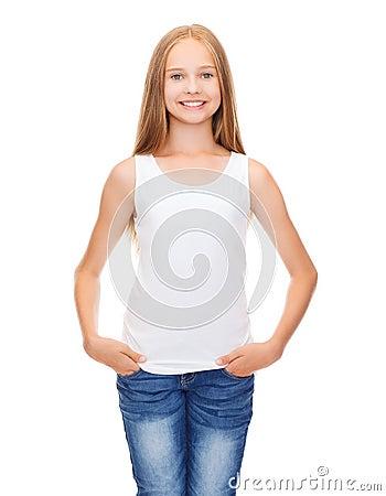 Smiling teenage girl in blank white shirt