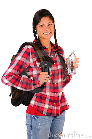Smiling Teenage Girl with Plaid Shirt Water Bottle
