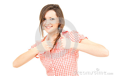 Smiling teenage girl with thumbs up