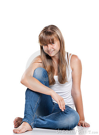Smiling teenager girl sitting
