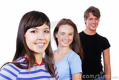Smiling teens three young