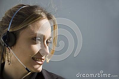 Smiling telemarketer