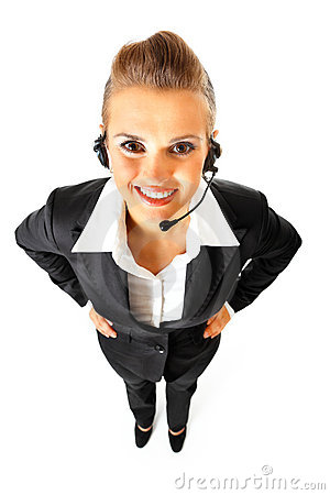 Smiling telephone operator with headset