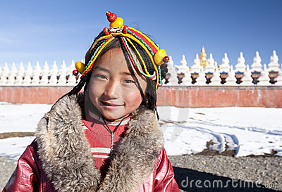 Smiling tibetan girl Editorial Stock Photo