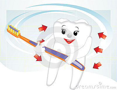 Smiling tooth with toothbrush. Cartoon