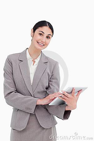 Smiling Tradeswoman With Her Tablet Computer Stock Images - Image: 23014114