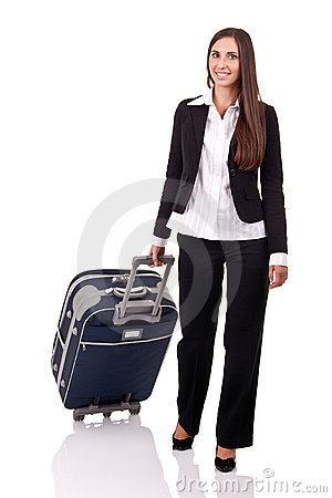 Smiling traveler business woman