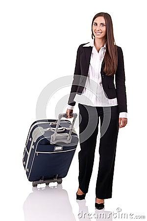 Smiling traveler business woman