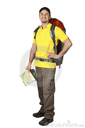 Free Smiling Traveller With Map Stock Photography - 14170542