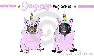 Smiling vector pug puppy dog sitting down, wearing pink jumpsuit with unicorn horn with rainbow colors Vector Illustration
