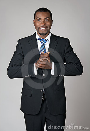 Smiling welcoming businessman