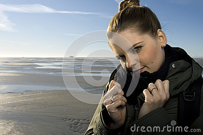 Portrait of woman beside the beach