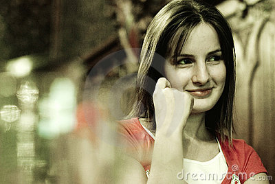 Smiling woman in bar