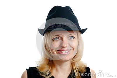 Smiling woman with a black hat