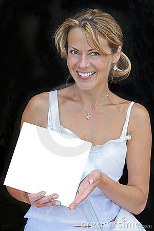 Smiling woman with blank sign