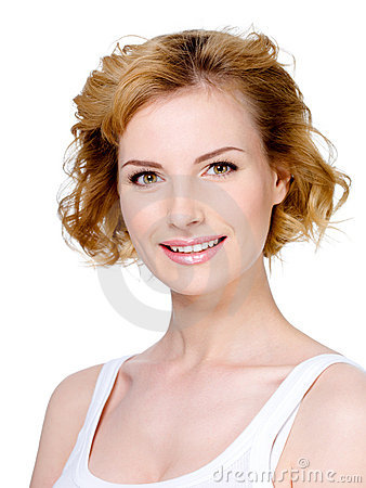 Smiling woman with blond short hair