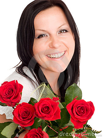 Smiling woman with bouquet of flowers