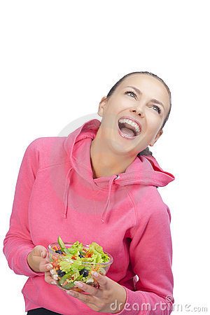 Smiling woman with bowl of salad
