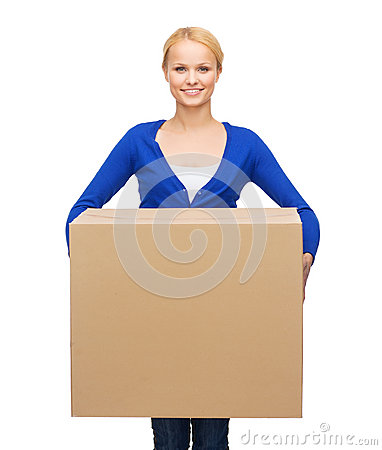 Smiling woman in casual clothes with parcel box