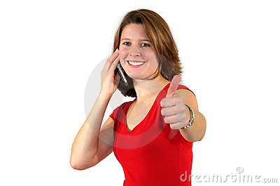 Smiling woman with cell phone and thumbs up